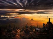 Borobudur Tapınağının Üzerinde Güneşin Doğuşu Yapbozu Oyna
