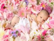Çiçekler Arasındaki Bebek Yapbozu Oyna