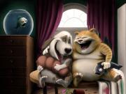 Kedi ve Köpeğin Sohbeti Yapbozu Oyna