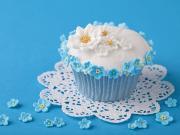 Mavi Çiçekli Cupcake Yapbozu Oyna